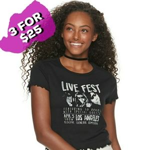 NWT Awake Juniors' Ruffled Sleeve Live Fest Tee